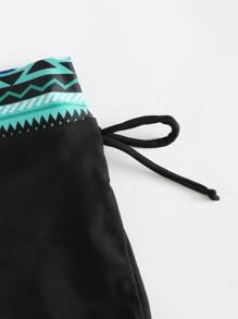 Geo Print Trim Bikini Shorts