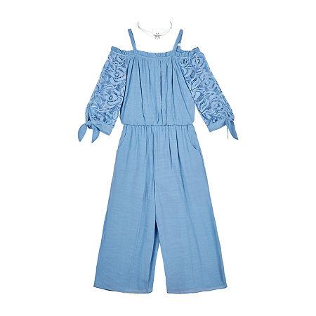 by&by girl Little & Big Girls Long Sleeve Jumpsuit, Medium (10-12) , Blue