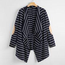 Mantel mit Streifen, Wassertropfen Kragen und Flicken
