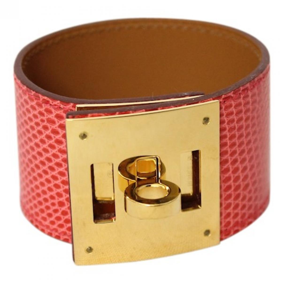Hermes - Bracelet Kelly pour femme en lezard - rose