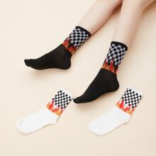 2pairs Flame & Plaid Pattern Socks