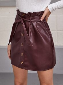 Paperbag Waist Self Belted Button Up PU Leather Skirt