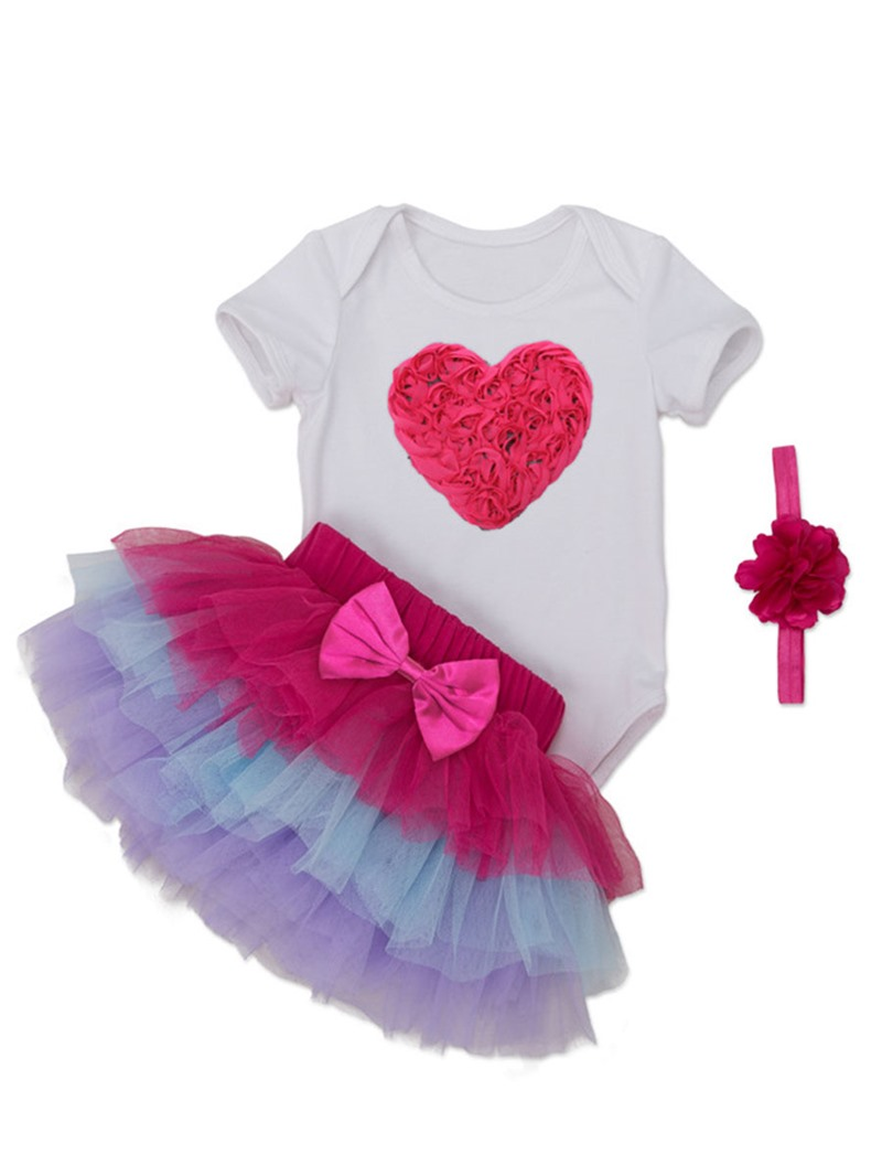 Ericdress Love T-Shirt Layered Skirt with headband 3-Pcs Girls Outfit