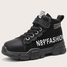 Boys Letter Graphic Velcro Strap Sneakers