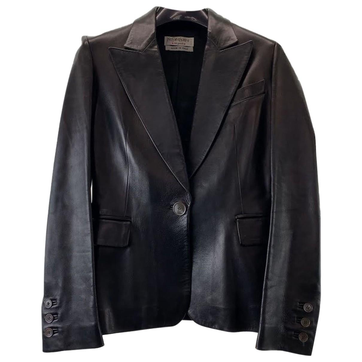 Yves Saint Laurent \N Jacke in  Schwarz Leder