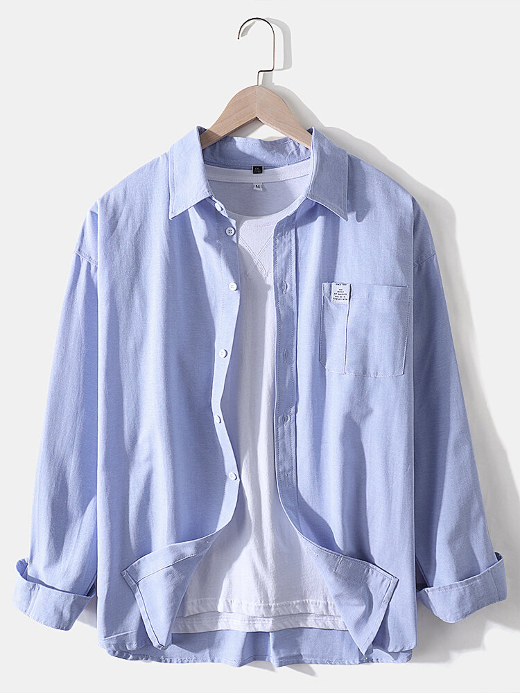Mens Cotton Pure Color Applique Loose Chest Pocket Long Sleeve Shirts