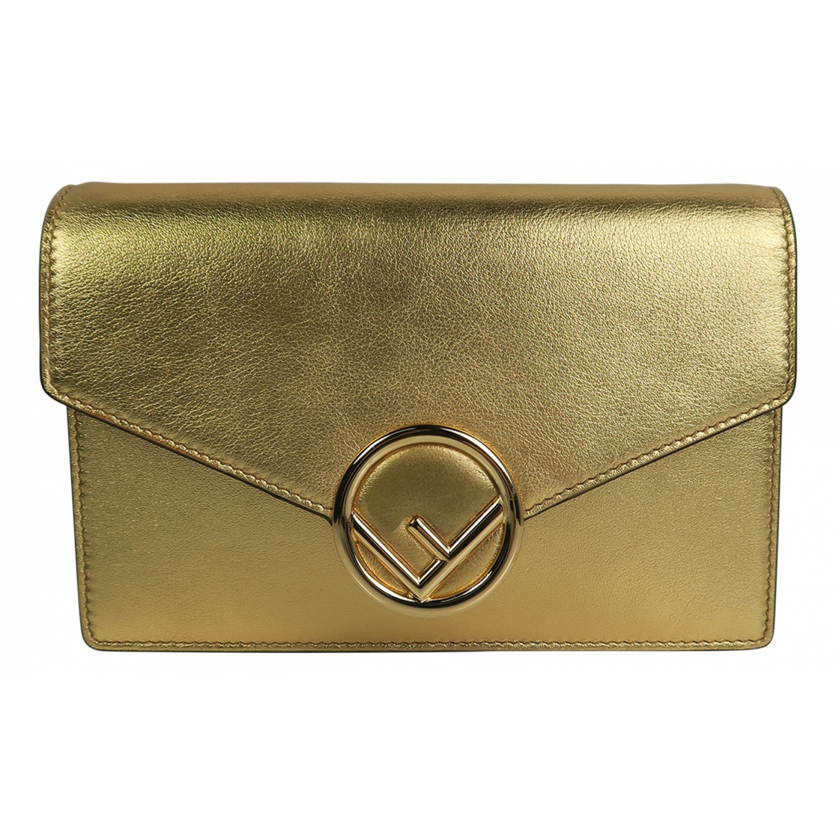 Fendi Kan I logo Gold Leather Clutch bag for Women N