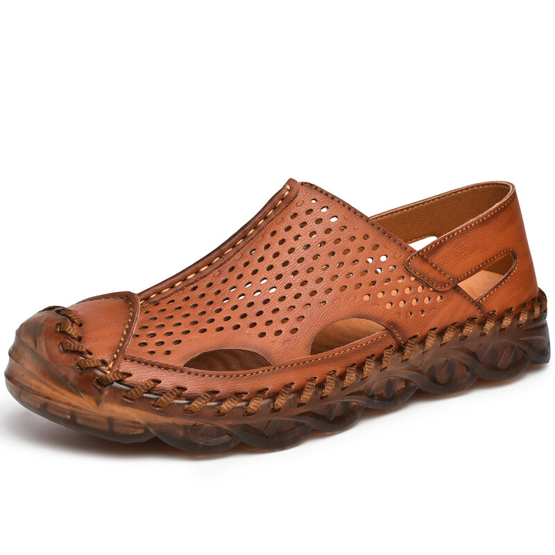 Men Hand Stitching Leather Hole Non Slip Outdoor Casual Sandals