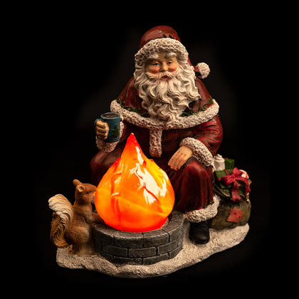 Christmas Decoration, Polyresin LED Santa by the Campfire, 7.25