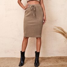 Tie Waist Cable Knit Skirt