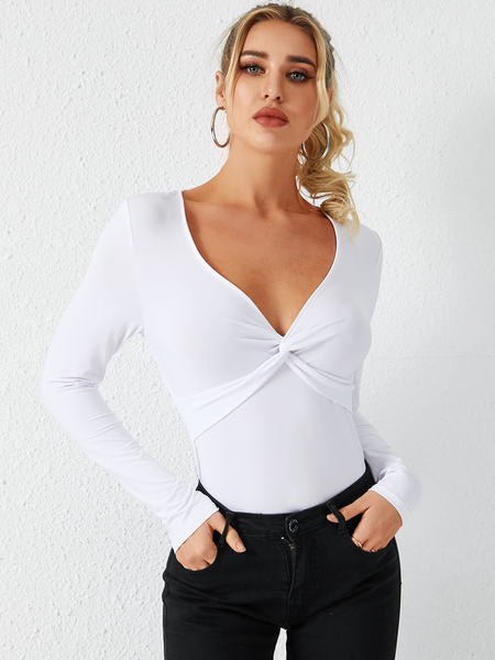 YOINS White Twist V-neck Long Sleeves Tee
