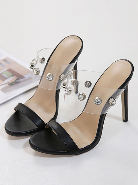 Milanoo Sandalias de tacon alto Mujer Negro Rhinestones de punta abierta Patchwork Sandalias sin respaldo Zapatillas