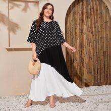 Plus Polka Dot Colorblock Maxi Dress