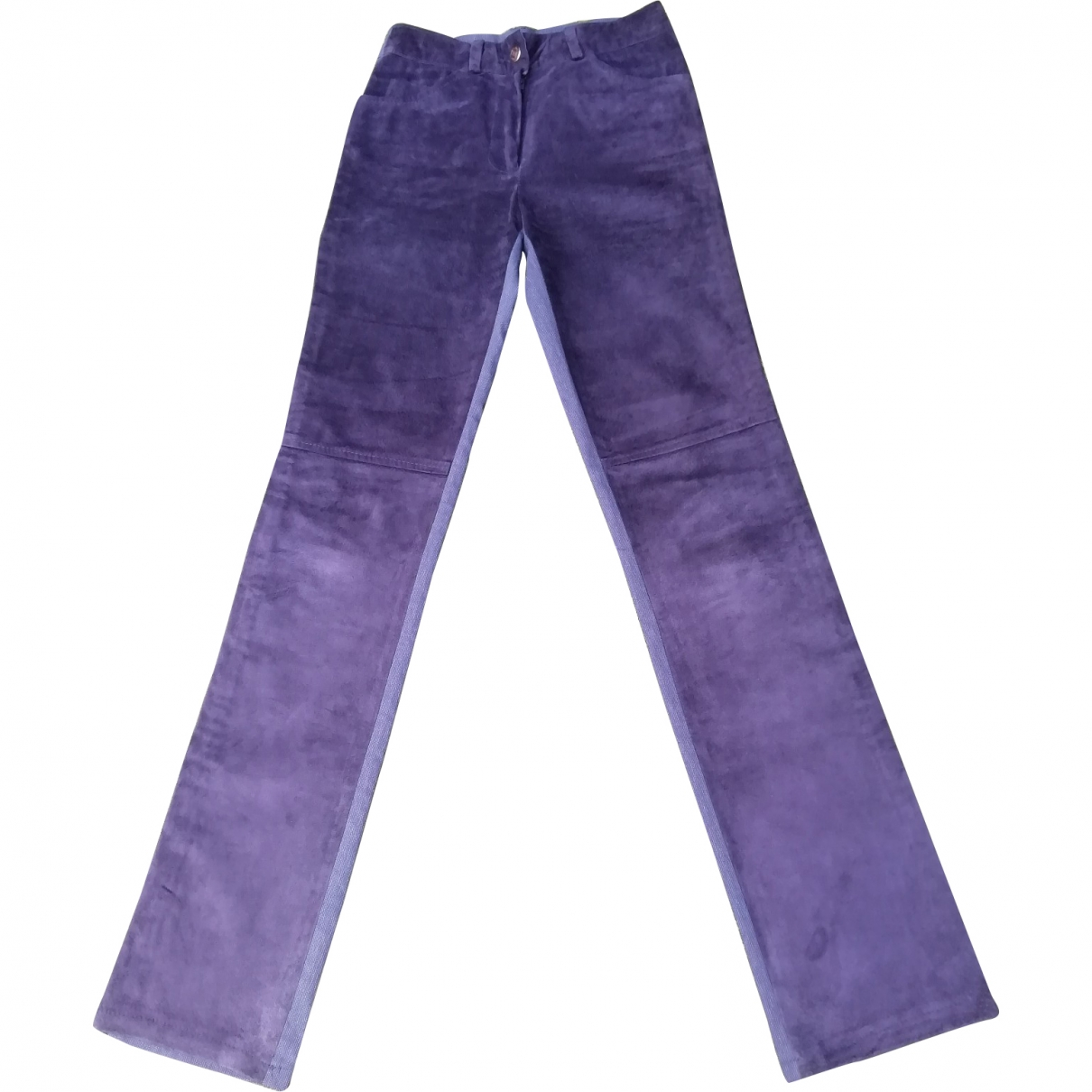 Absolu \N Blue Leather Trousers for Women 36 FR