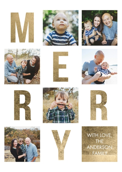 Christmas Photo Cards 5x7 Cards, Premium Cardstock 120lb with Scalloped Corners, Card & Stationery -Christmas Merry Letters