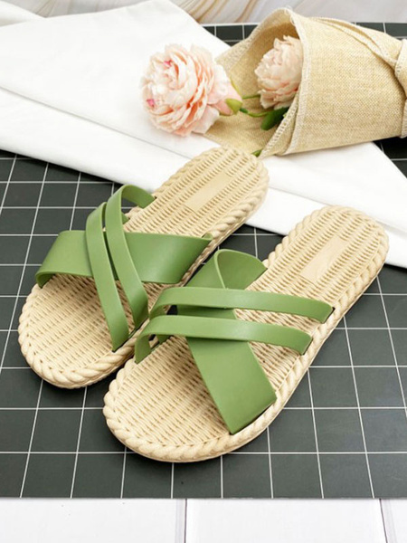 Milanoo Sandal Slippers Green PVC Upper Round Toe Beach Sandal Slides