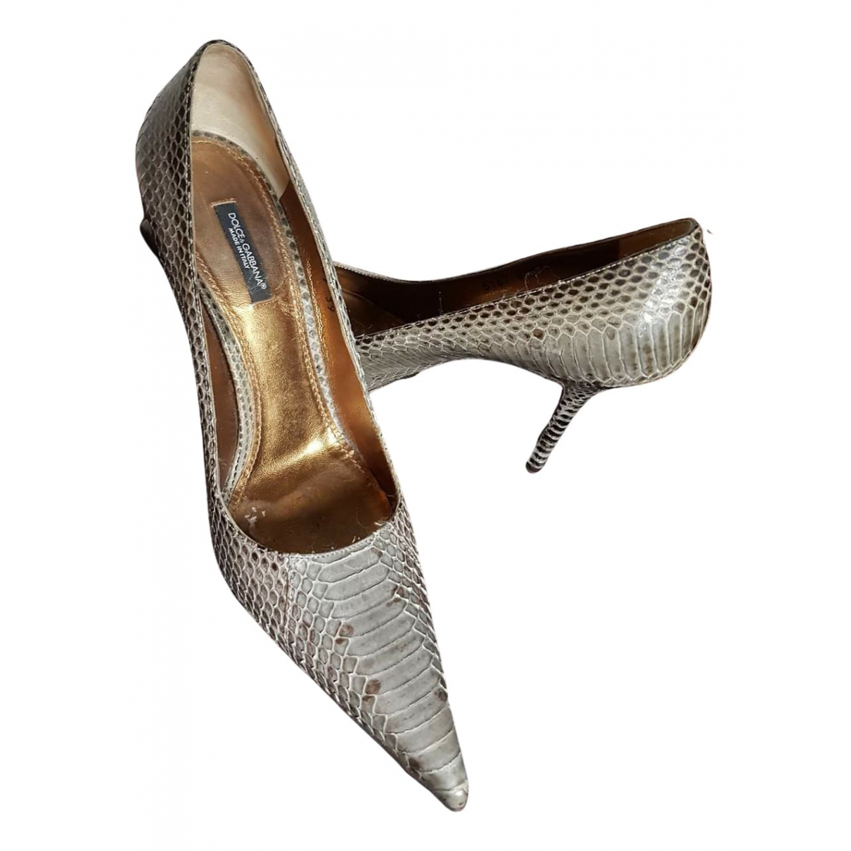 Dolce & Gabbana N Beige Python Heels for Women 39 IT