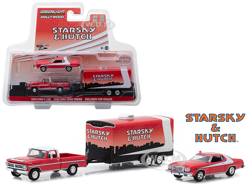 1972 Ford F-100 Pickup Truck and 1976 Ford Gran Torino with Enclosed Car Hauler