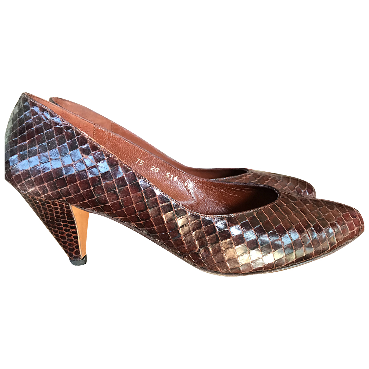 Autre Marque N Brown Python Heels for Women 40 EU