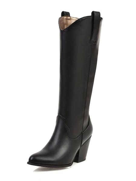 Milanoo Knee High Boots Womens Retro PU Pointed Toe Chunky Heel Cowboy Boots