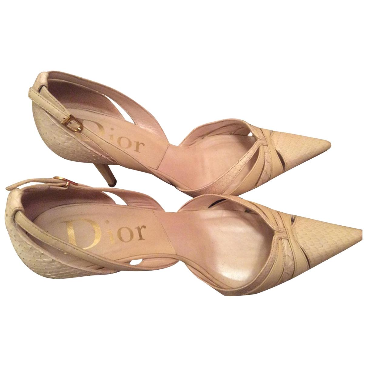 Dior - Escarpins   pour femme en serpent deau - beige