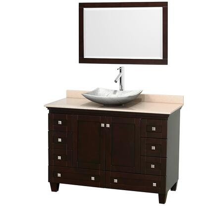 WCV800048SESIVGS6M24 48 in. Single Bathroom Vanity in Espresso  Ivory Marble Countertop  Arista White Carrera Marble Sink  and 24 in.
