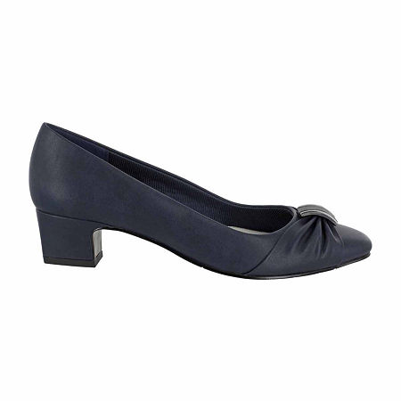 Easy Street Womens Eloise Pumps Block Heel, 7 Extra Wide, Blue