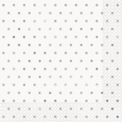 Elegant Silver Foil Dots Luncheon Napkins 16Pcs - Foil Stamped