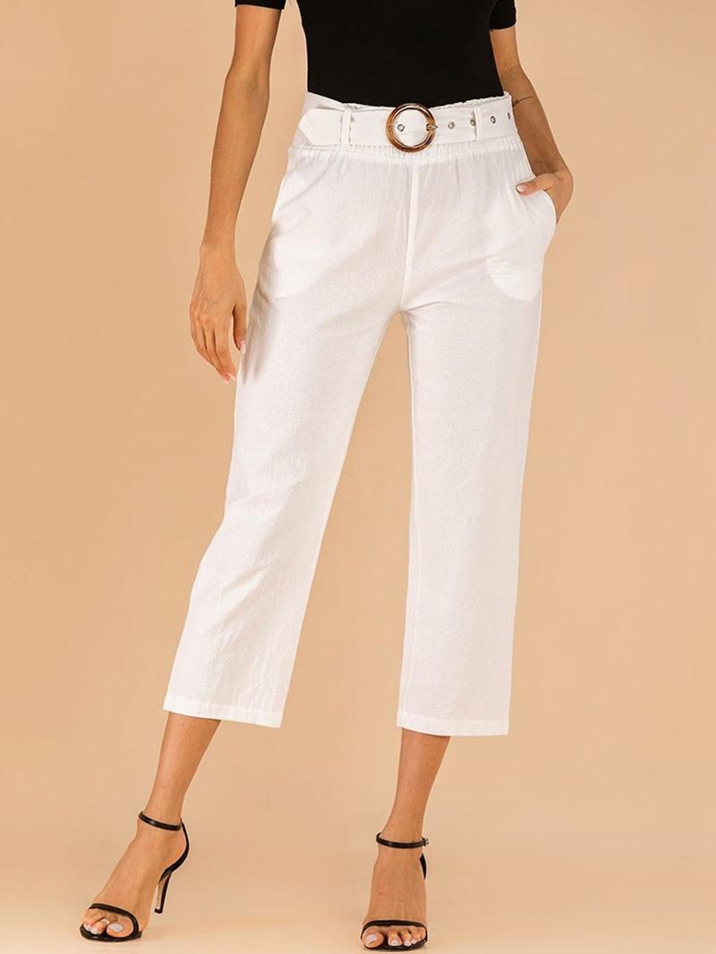 Ericdress Pocket Plain Slim Straight Mid-Calf Casual Pants