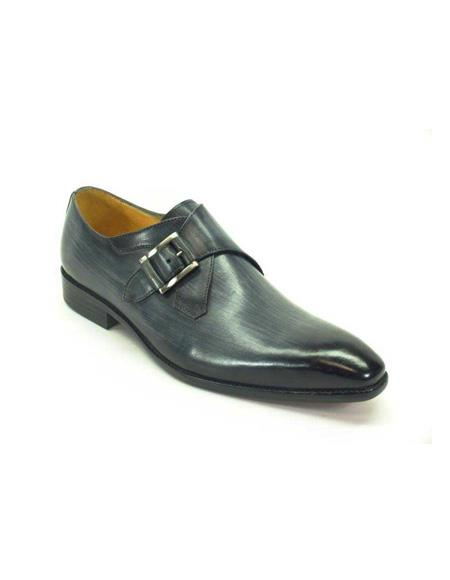 Mens Monk Strap Leather Loafers by Carrucci - Grey