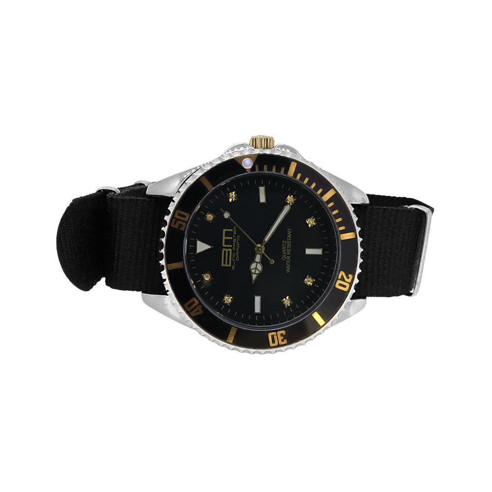 Genuine Diamond Bling Master Divers Sport Watch Gold with Black Nylon Strap
