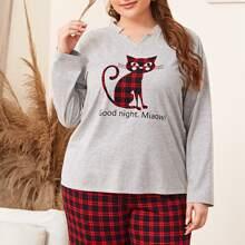 Top mit eingekerbtem Kragen und Buchstaben & Katze Muster