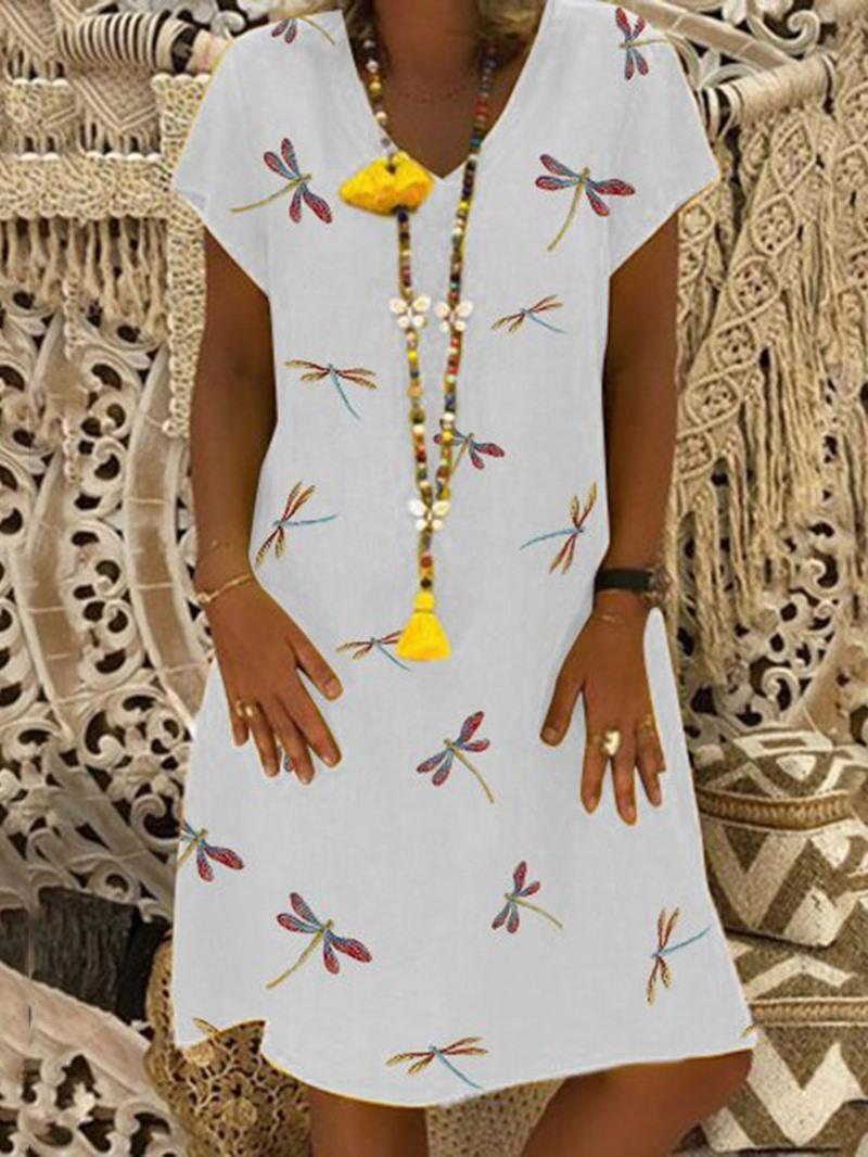 Ericdress Casual V-Neck Print Short Sleeve Summer A-Line Dress