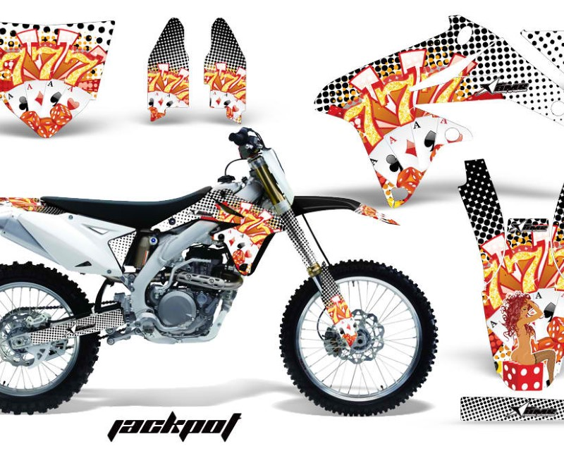 AMR Racing Dirt Bike Decal Graphics Kit Sticker Wrap For Suzuki RMZ450 2008-2017áJACKPOT WHITE