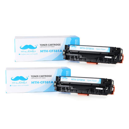 Compatible HP 312A CF381A cartouche de toner cyan - Moustache@ - 2/paquet