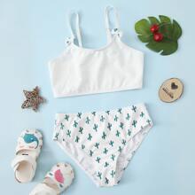 Bikini Badeanzug mit Kaktus Muster und Schleife Detail