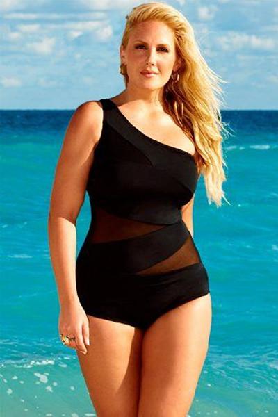 Black Women One Shoulder Swimwear Hollow Monokini