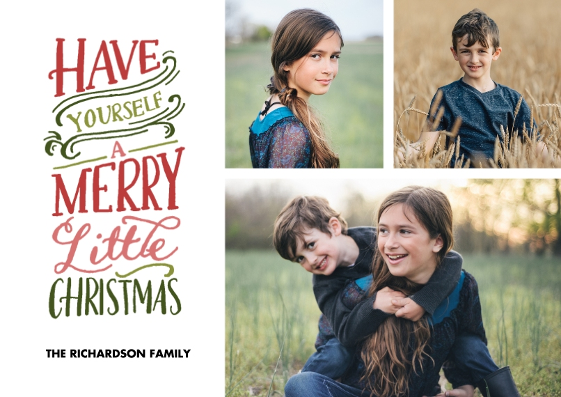 Christmas Photo Cards Flat Glossy Photo Paper Cards with Envelopes, 5x7, Card & Stationery -Christmas Merry Little Colorful
