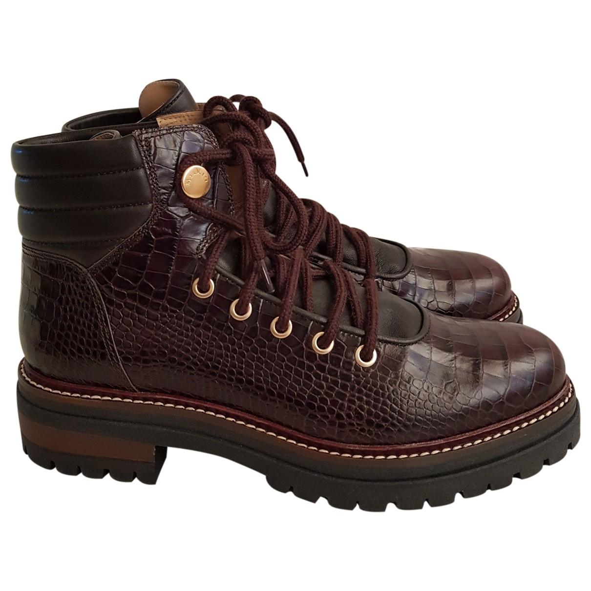 Max Mara - Boots   pour femme en cuir - marron