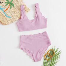 Texturierter Bikini Badeanzug mit Band und Bogenkante