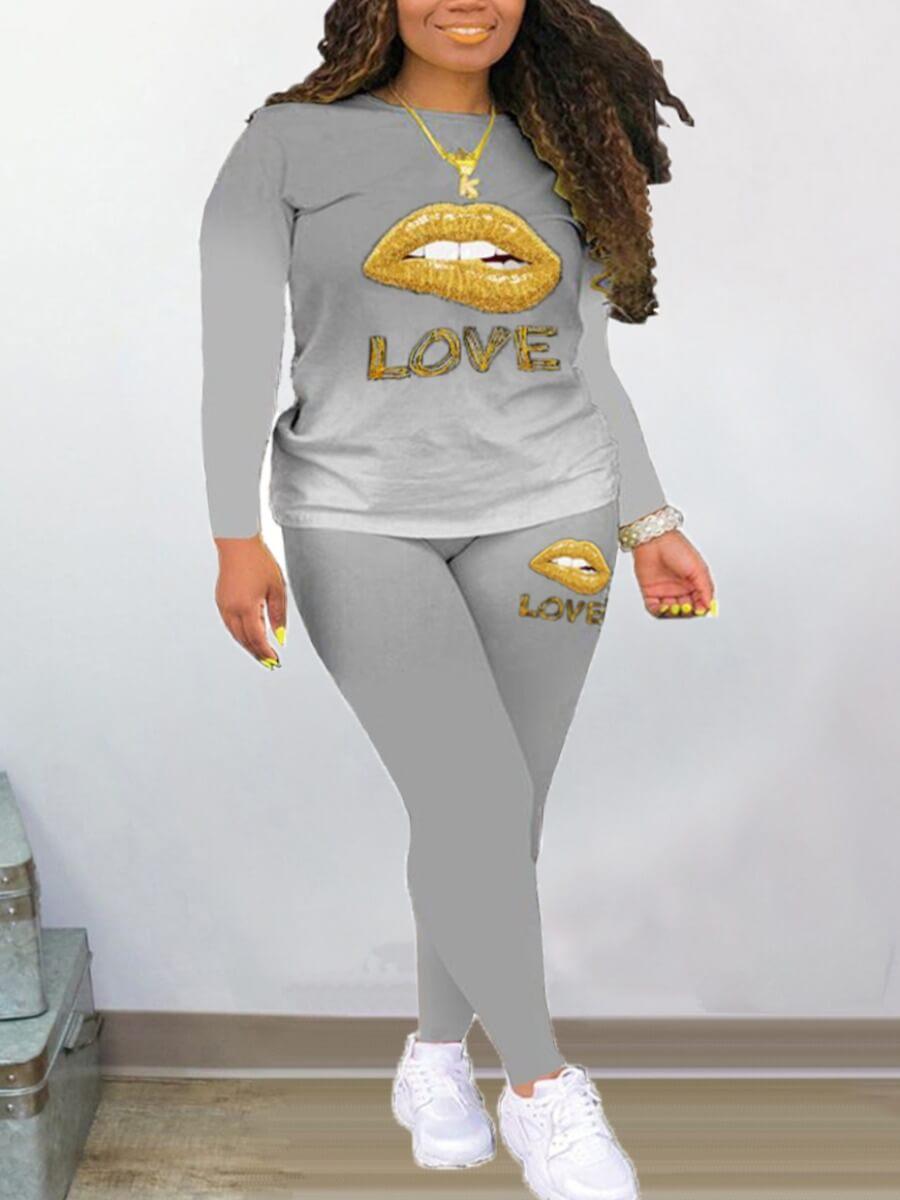 LW Lovely Casual Lip Print Gradual Grey Two Piece Pants Set