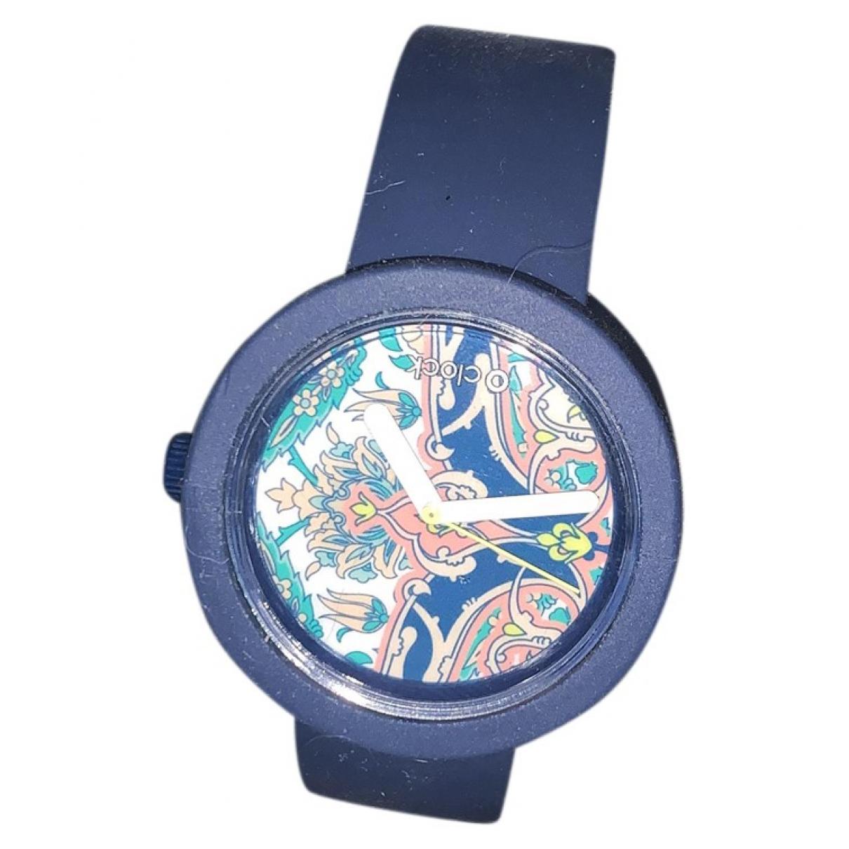 Non Signe / Unsigned \N Uhr in  Blau Kautschuk