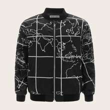 Boys Zip Up Graphic Print Bomber Jacket