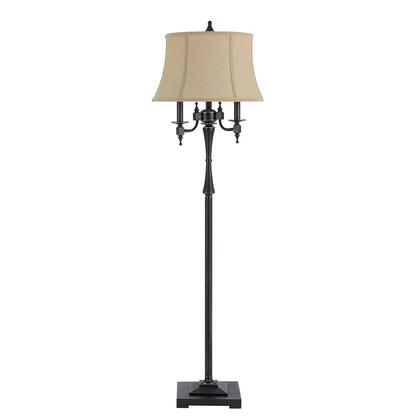 BM220840 6 Way Metal Floor Lamp with Fabric Shallow Drum Shade