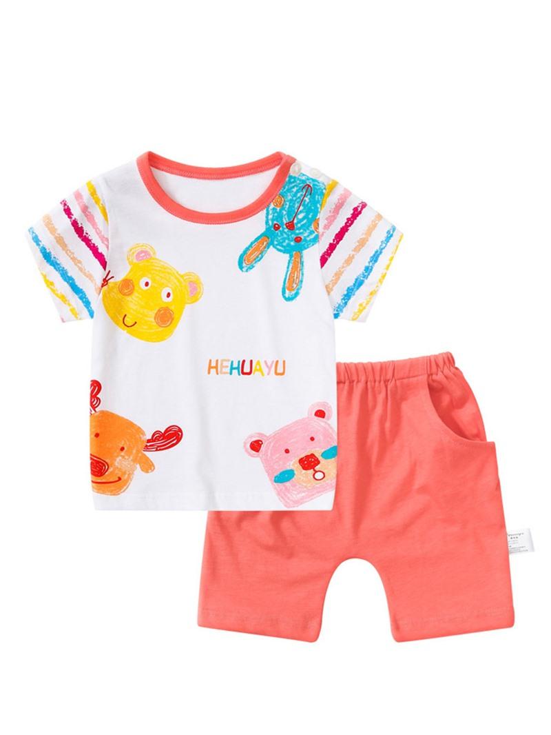 Ericdress Cartoon Stripe Shirt Shorts Boys Outfit