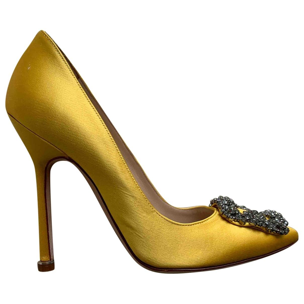 Manolo Blahnik - Escarpins Hangisi pour femme en toile - jaune