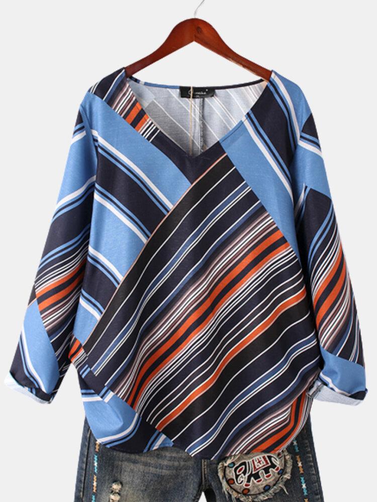 Striped Patchwork V-neck Long Sleeve Plus Size Blouse