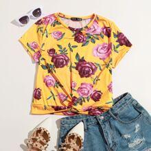 T-Shirt mit Blumen Muster und Twist vorn