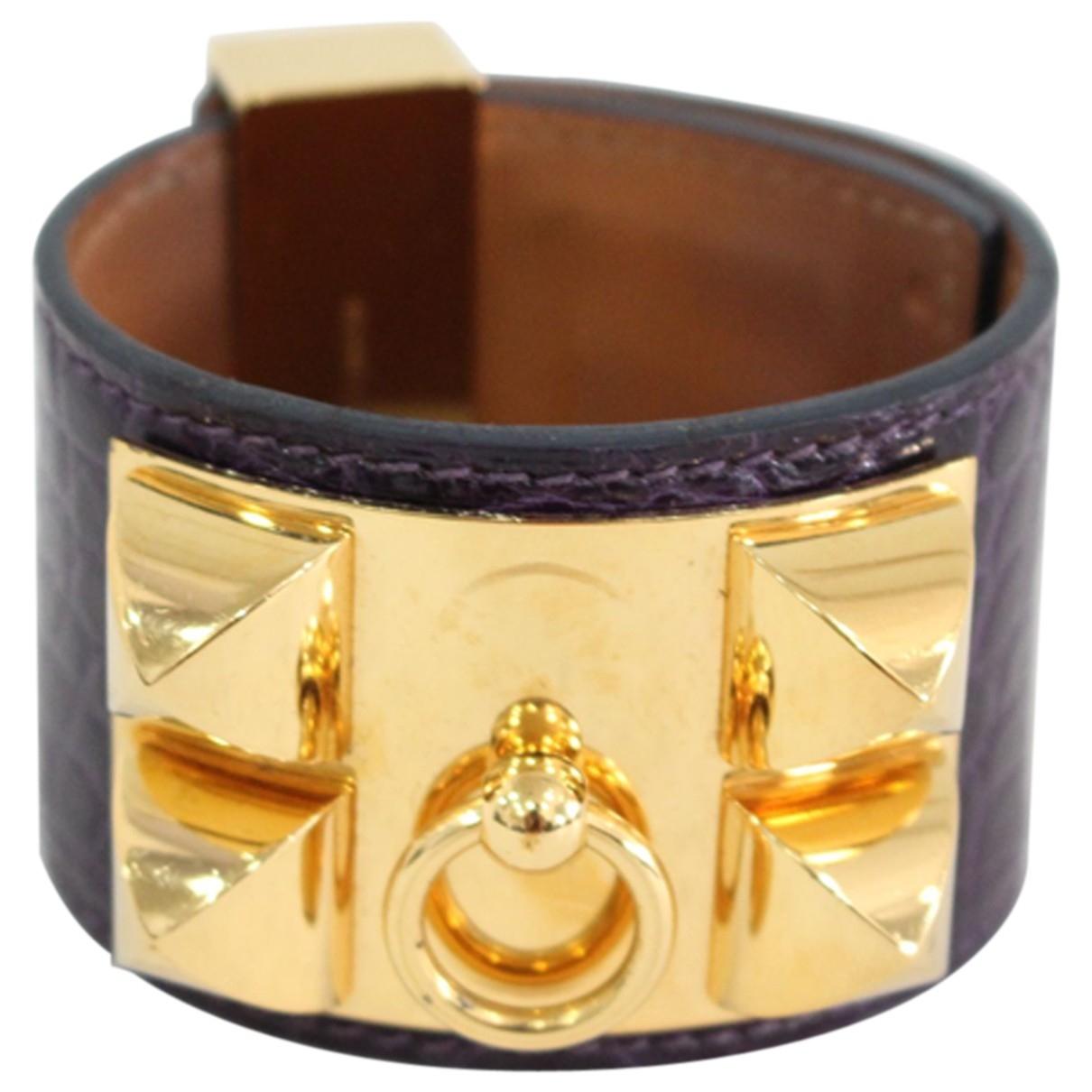 Hermes - Bracelet Collier de chien  pour femme en crocodile - violet