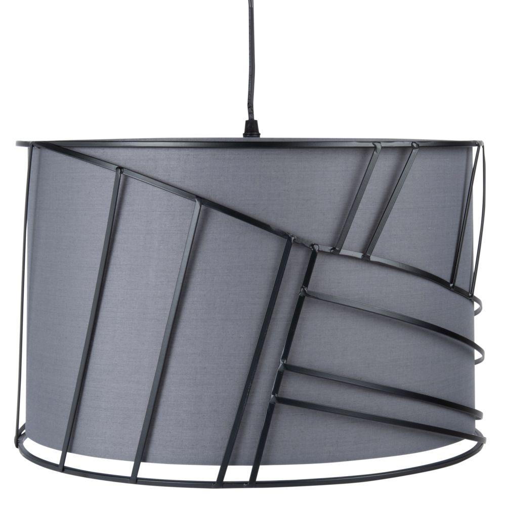 Haengeleuchte aus Metall, schwarz und grau D.40